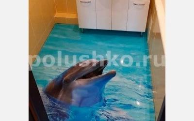 3д пол с дельфином в ванной
