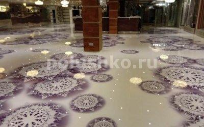 Декоративный наливной пол с рисунком в ресторане Снежинка