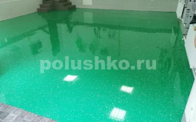 полимерный пол в гараже зеленый Раздоры-2
