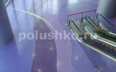Полимерные наливные полы с рисунком в торговом центре
