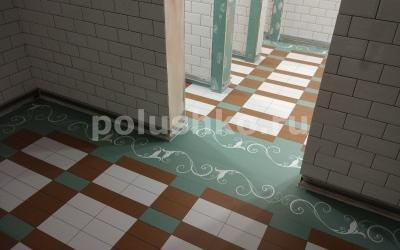 Наливной пол с рисунком под плитку в туалете гостиницы Мрия Ялта Крым