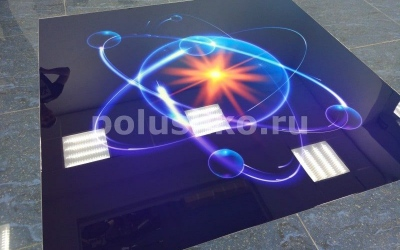 Наливной пол с изображением атома