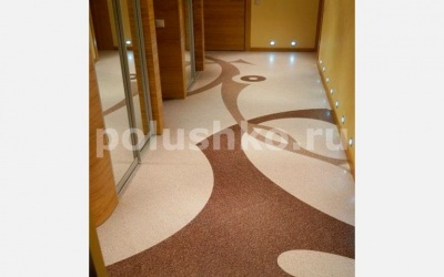 Наливной пол в коридоре узор в 2 цвета