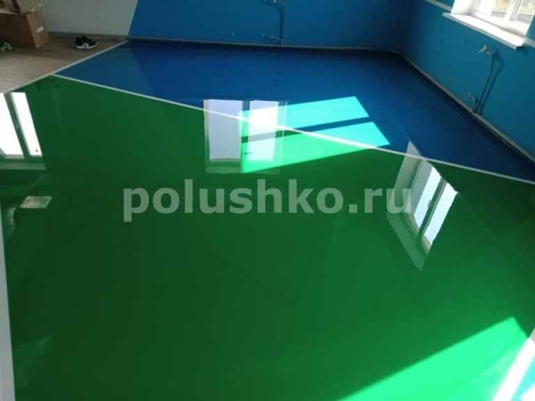 Полимерный наливной пол синий с зелёным