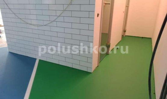 Полимерный пол зеленый с синим