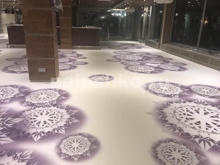 наливной пол с 3д рисунком в ресторане