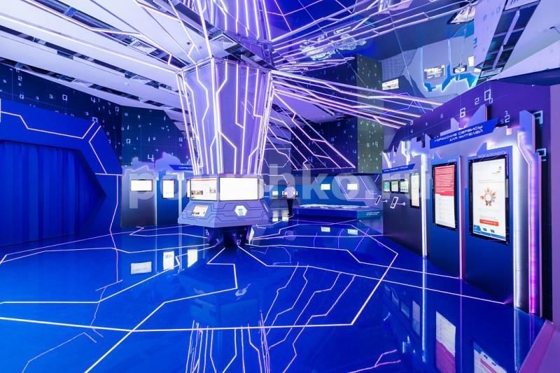 Синий наливной пол с подсветкой ВДНХ